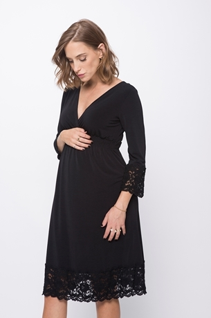 Picture of Lace trimmed empire dress black