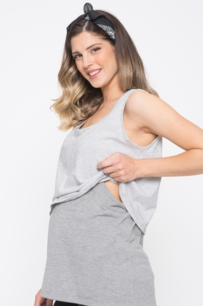 Picture of Cropped Layer Nursing Top White