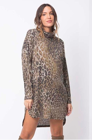 Picture of LEOPARD MARGO RIBBED DRESS