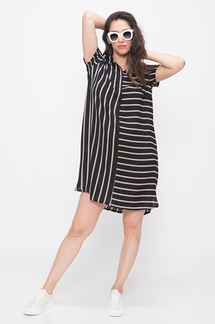 Picture of CONTRAST STRIPES SHIRTDRESS