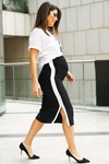 Picture of WHITE STRIPES PENCIL SKIRT