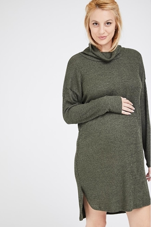 Picture of MARGO TUNIC RIBBED DRESS OLIVE