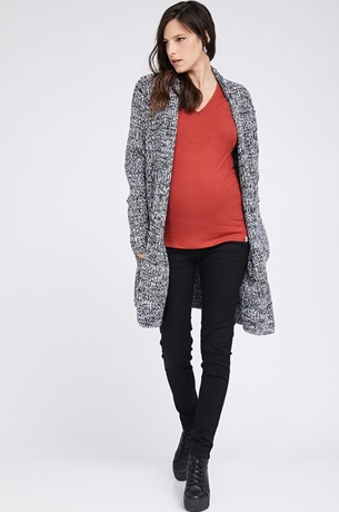 Picture of LONG KNIT COAT BLACK AND WHITE