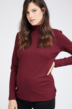 Picture of RIBBED TURTLENECK TOP MAROON