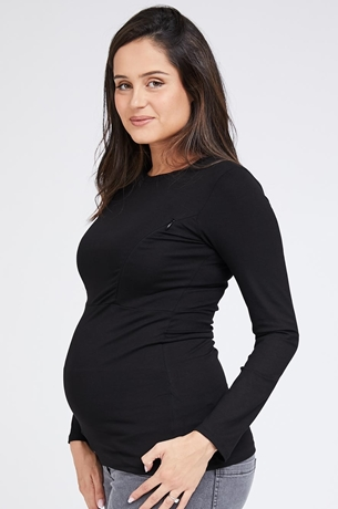 Picture of Zip-up Nursing Top Black
