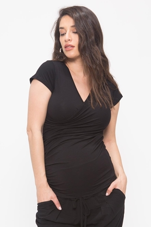 Picture of Cross-Over Nursing Top Black