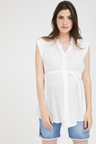 Picture of Sleeveless Button Top Cream