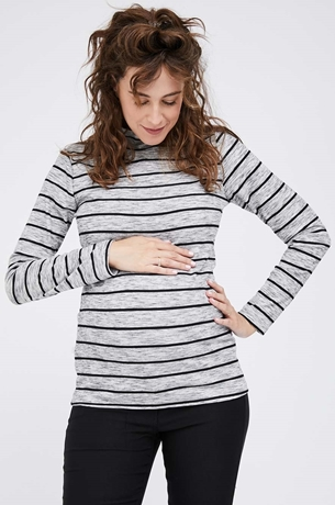 Picture of Ribbed Turtleneck Top Stripes