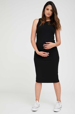 Picture of Martina Ribbed Bodycon Maternity Dress Black