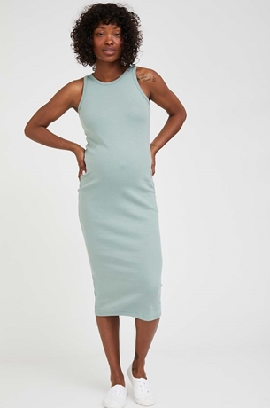 Picture of Martina Ribbed Bodycon Maternity Dress Green