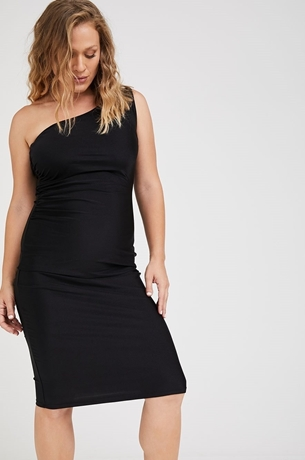 Picture of Amanda One Shoulder Maternity Dress Black
