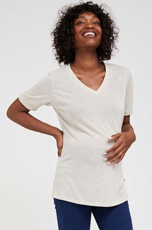 Picture of Val Maternity Linen T-shirt Beige