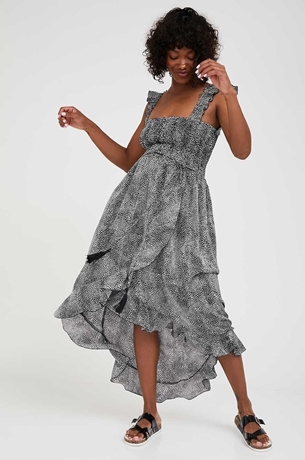 Picture of Alina Asymmetric Maternity Dress Black & White